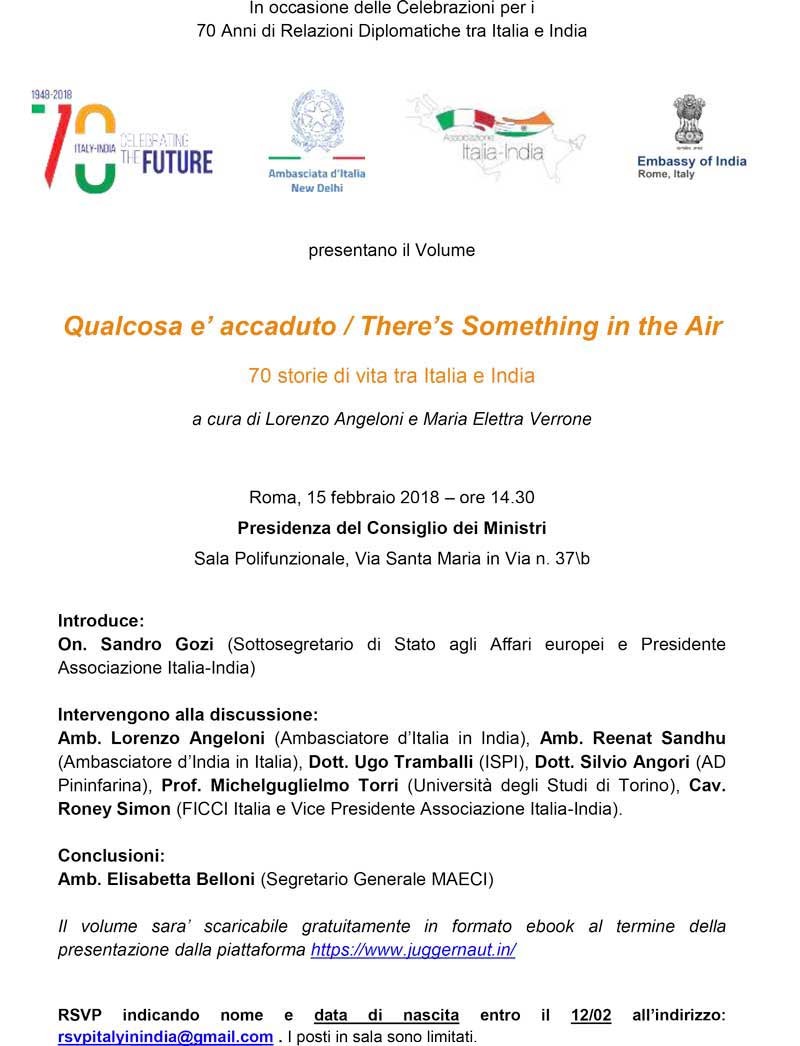 Presentazione di libri - Qualcosa è accaduto/There's Something in the Air<br>70 Storie di vita tra Italia e India