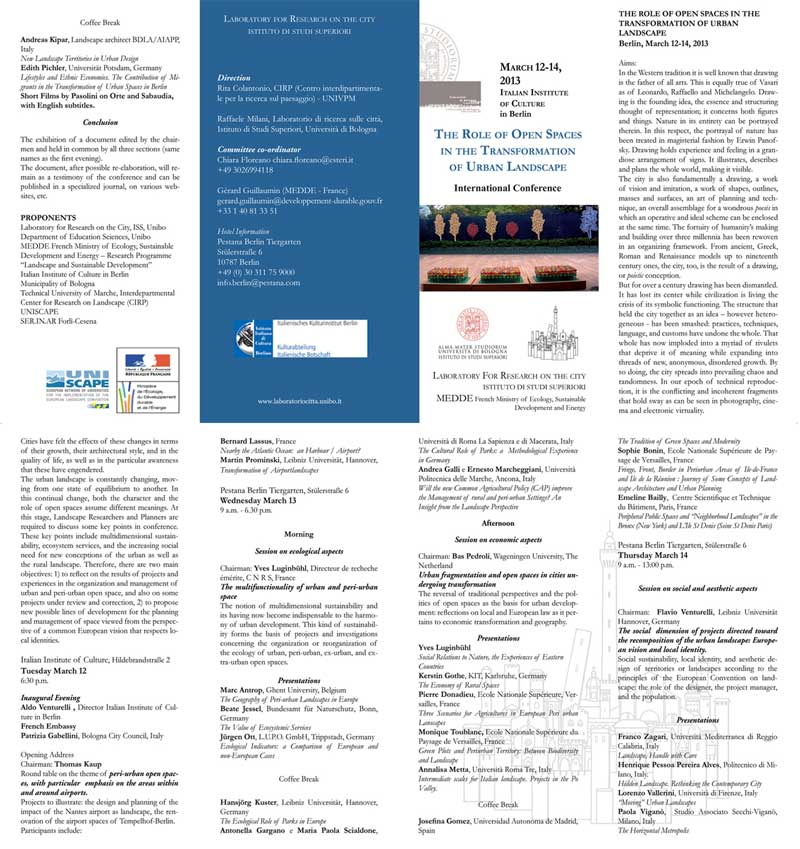 Convegno internazionale - The Role of Open Spaces<br>in the Transformation <br> of Urban Landscape